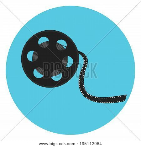 Cinematography video bobbin with cinema tape. Film reel icon. Cinematography symbol for print design banners