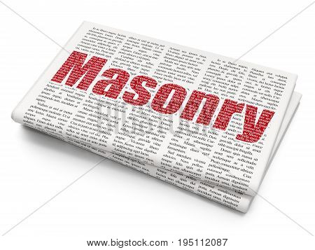 Construction concept: Pixelated red text Masonry on Newspaper background, 3D rendering