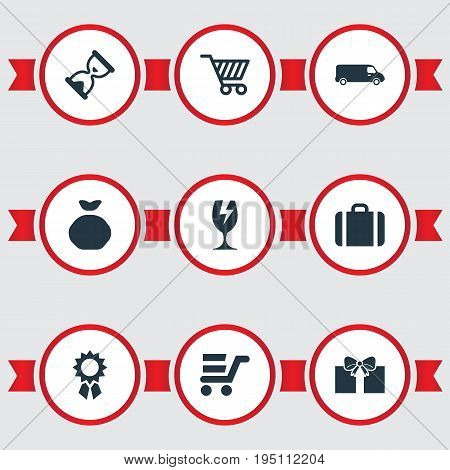 Vector Illustration Set Of Simple Conveyance Icons. Elements Packaging, Pushcart, Market Cart And Other Synonyms Market, Cabin And Pouch.