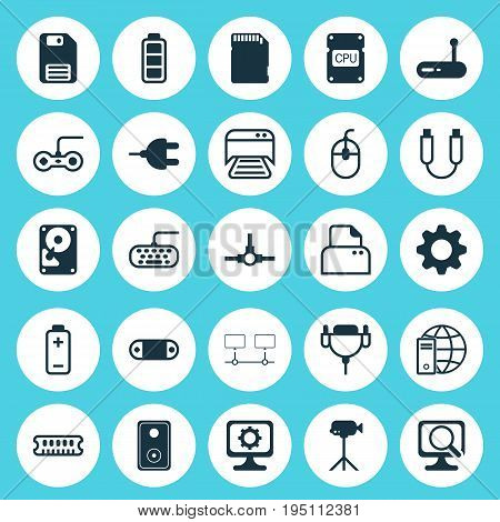 Computer Icons Set. Collection Of Network Structure, Camcorder, Computer Keypad And Other Elements. Also Includes Symbols Such As Keyboard, Accumulator, Card.