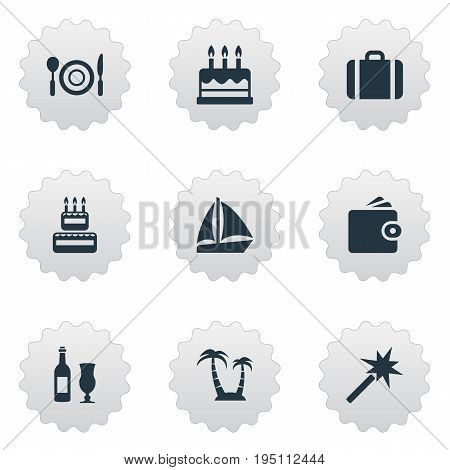 Vector Illustration Set Of Simple  Icons. Elements Wine, Cake, Supper And Other Synonyms Case, Glass And Beach.