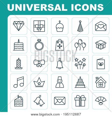 Holiday Icons Set. Collection Of Brilliant, Celebration Letter, Handbell Elements. Also Includes Symbols Such As Party, Gift, Fan.