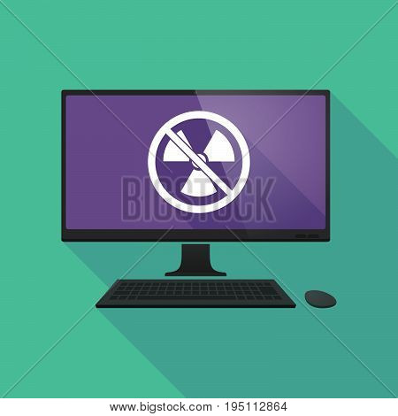Long Shadow Computer With  A Radioactivity Sign  In A Not Allowed Signal