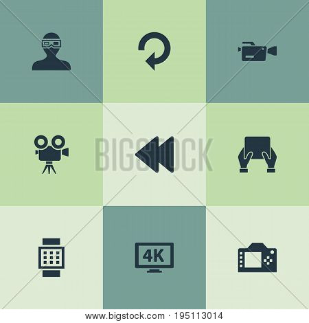 Vector Illustration Set Of Simple Media Icons. Elements Video Camera, Rearward, Photo Apparatus And Other Synonyms Watch, Update And Apparatus.