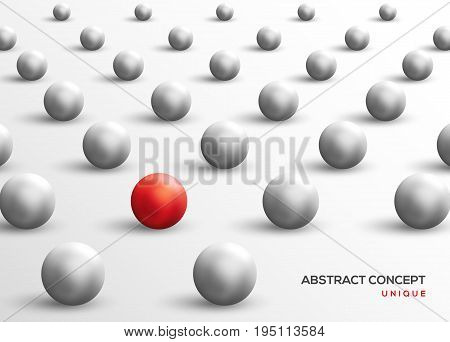 Unique red ball among white ones. Abstract leadership concept. Vector illustration. Business teamwork and success background