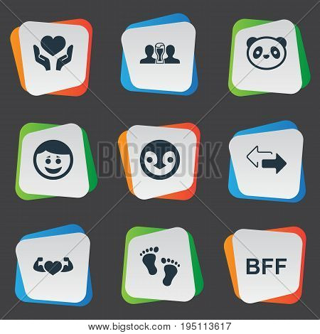 Vector Illustration Set Of Simple Friends Icons. Elements Penguin, Bff, Bodybuilding And Other Synonyms Beer, Smile And Footprints.