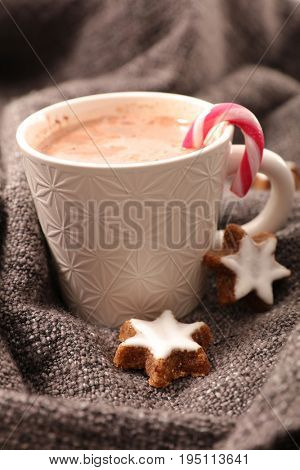 warm chocolate milk with biscuit