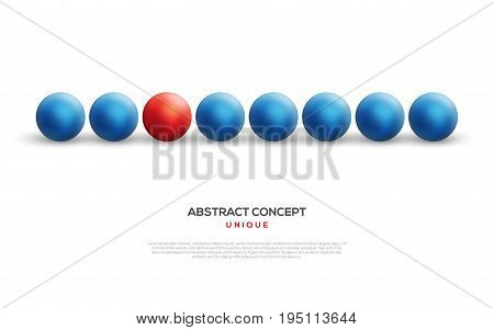 Unique red ball among blue ones in row. Abstract leadership concept. Vector illustration. Business teamwork and success background