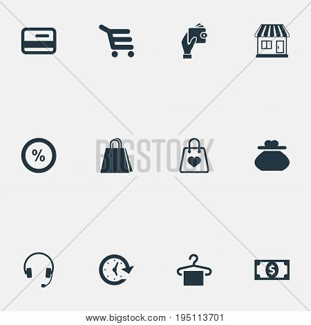 Vector Illustration Set Of Simple Shopping Icons. Elements Plastic Money, Timer, Buy Button And Other Synonyms Packing, Shopping And Headphones.