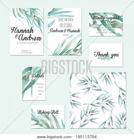 Template cards set with watercolor green branches; wedding design for invitation, Save the date card, RSVP, Thank you card, Wishing Well card,  for anniversary day