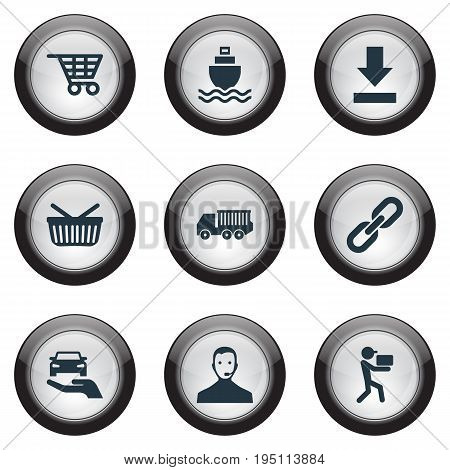 Vector Illustration Set Of Simple Engineering Icons. Elements Retail, Van, Shopping Trolley And Other Synonyms Navigation, Logistics And Retail.