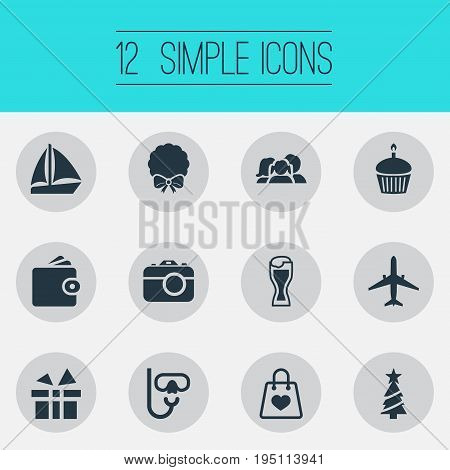 Vector Illustration Set Of Simple Festal Icons. Elements Photo Camera, New Year Symbol, Birthday Dessert And Other Synonyms Airplane, Sale And Bag.