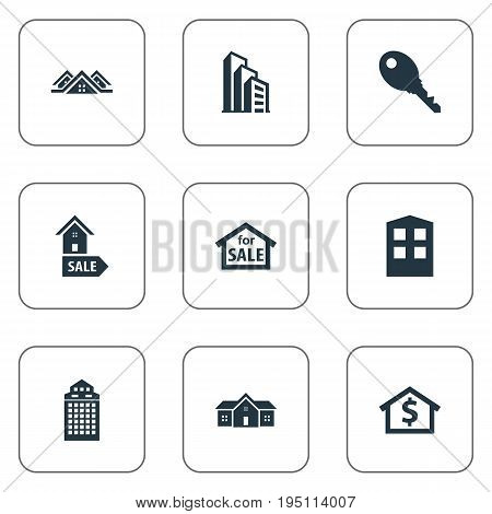 Vector Illustration Set Of Simple Property Icons. Elements Lock, Glass Tower, 3 Housings And Other Synonyms Business, Advertisement And House.