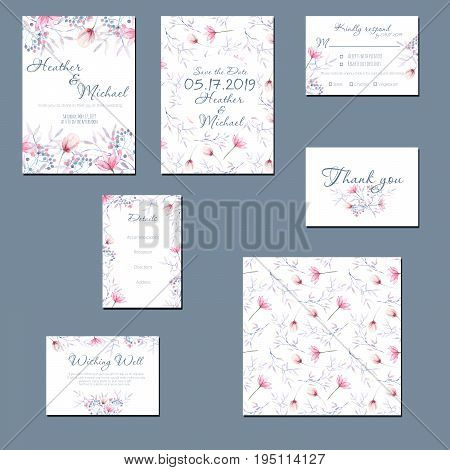 Template cards set with watercolor tender pink and blue flowers and plants; wedding design for invitation, Save the date card, RSVP, Thank you card, Wishing Well card,  for anniversary day
