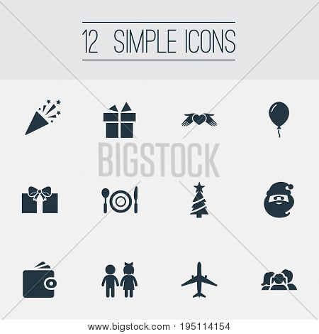 Vector Illustration Set Of Simple Vacation Icons. Elements Gift, Surprise, Mates And Other Synonyms Supper, Tree And Christmas.