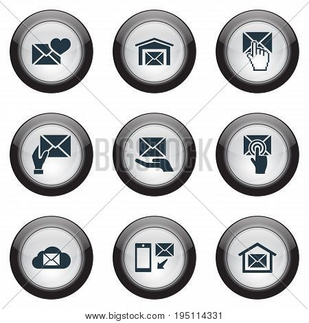 Vector Illustration Set Of Simple Mailing Icons. Elements Mail With Heart, Renewed, Ats And Other Synonyms Mouse, Cursor And Network.