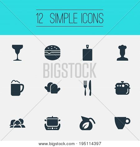 Vector Illustration Set Of Simple Cuisine Icons. Elements Utencil, Oven Gloves, Hamburger And Other Synonyms Chef, Snack And Potholder.