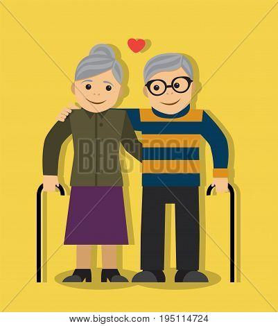 Cartoon couple of enamored grandparents stand in an embrace on a yellow background
