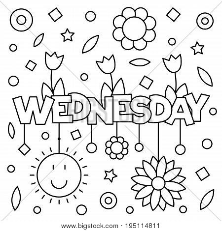 Coloring page. Vector illustration of a wek day. Wednesday.