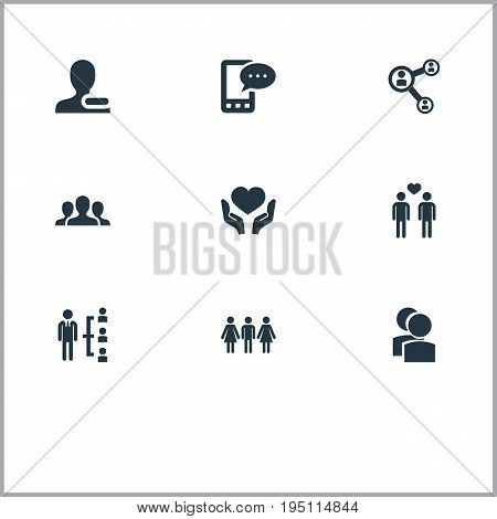 Vector Illustration Set Of Simple Mates Icons. Elements Online Talking, Unity, Camaraderie And Other Synonyms Companions, Group And Human.