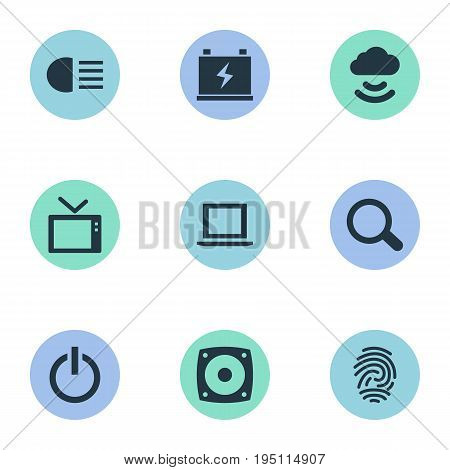 Vector Illustration Set Of Simple Gadget Icons. Elements Tv, Thumbprint, Switch Off And Other Synonyms Thumbprint, Laptop And Switch.