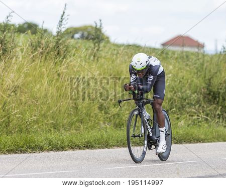 Bourgoin-Jallieu France - 07 May 2017: The Eritrean cyclist Natnael Berhane of Dimension Data Team riding during the time trial stage 4 of Criterium du Dauphine 2017.
