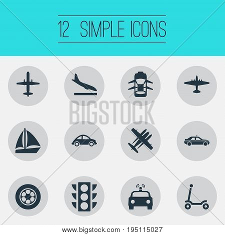 Vector Illustration Set Of Simple Transportation Icons. Elements Police Car, Hatchback, Military Fighter And Other Synonyms Landing, Police And Ramjet.