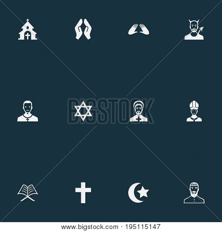Vector Illustration Set Of Simple Religion Icons. Elements Jewish Clergy, Devil, Orison And Other Synonyms Church, Clergy And Islam.