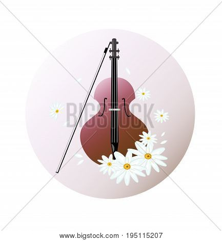 Violin instrument background Vector illustration. Chamomile flowers as decors