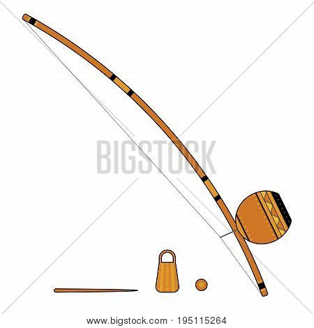 Isolated colorful decorative ornate berimbau with caxixi baqueta and dobrao on white background. Colored brazilian musical instrument for bateria of capoeira