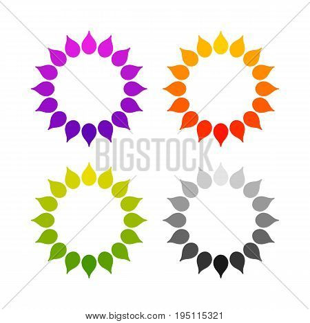 Set of stylized sun logo. Round icon of sun flower. Isolated yellow green red orange violet purple black logo on white background. Can use as frame