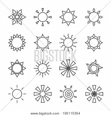 Set of stylized sun logo. Line icon of sun star flower. Isolated black outline logo on white background