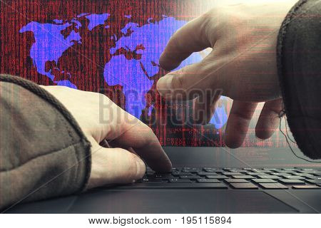 Internet cyber crime concept. Dangerous hacker hacked and encrypted the world.
