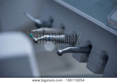 Selective Focus Of Various Dental Drills In Dental Clinic