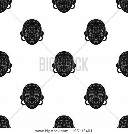 African tribal mask.African safari single icon in black style vector symbol stock illustration .
