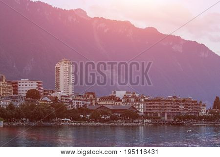 Beautiful View Montreux City On A Sunny Summer Day, Canton Of Vaud, Switzerland
