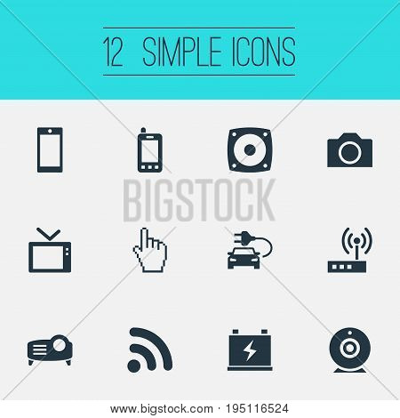 Vector Illustration Set Of Simple Hitech Icons. Elements Photography, Wireless Connection, Mobile And Other Synonyms Woofer, Wireless And Photo.