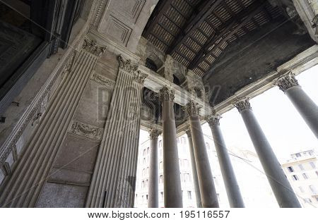 Pantheon in Rome. Close view thru walls and columns. Pantheon was built as a temple to all the gods of ancient Rome. Rome Italy. June 2017
