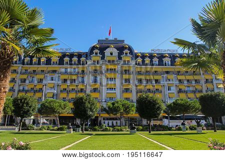 MONTREUX-SWITZERLAND-12 MARCH 2017 : Fairmont Le Montreux Palace a hotel locate near the Geneva lake in Switzerland