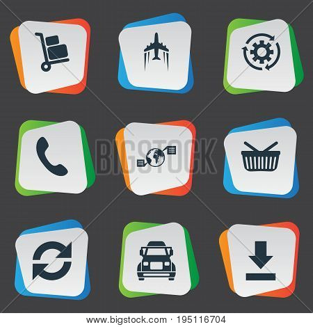 Vector Illustration Set Of Simple Systematization Icons. Elements Truck, Period, Retail And Other Synonyms Phone, Delivering And Down.