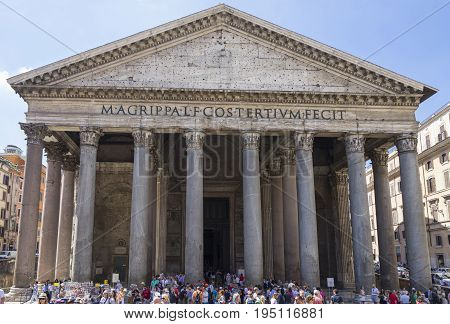Pantheon in Rome. Ancient roman pantheon. Front view. Rome Italy. June 2017