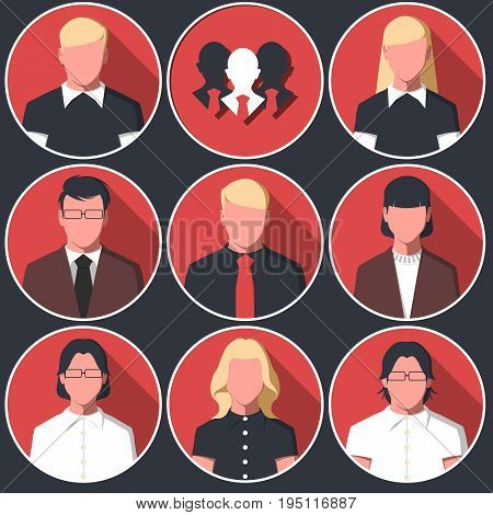 Set of round icons with  business men and women. Avatars with male and female silhouettes of white collar workers. Business people flat vector illustration.