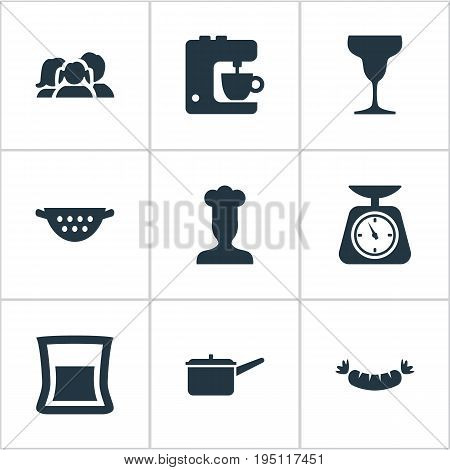 Vector Illustration Set Of Simple Gastronomy Icons. Elements Wineglass, Measure, Drainer And Other Synonyms Measure, Equilibrium And Colander.