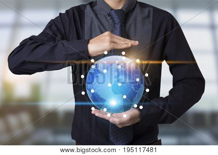 Business hand with application icons interface and globe networking system. concept technology social network communication.