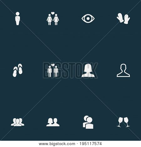 Vector Illustration Set Of Simple Beloved Icons. Elements Eye, Friends, Wineglass And Other Synonyms Wineglass, Wife And Friends.