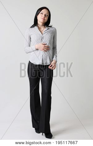 Fashion business woman portrait gray backgroung one