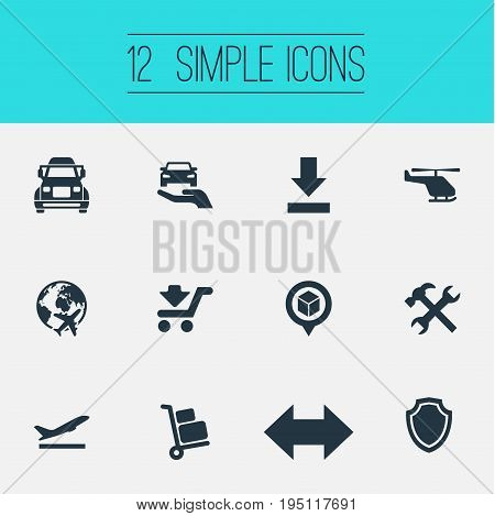 Vector Illustration Set Of Simple Logistics Icons. Elements Reverse, Shield, Renovation And Other Synonyms Mend, Revolve And Car.