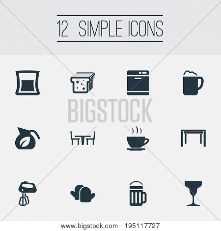 Vector Illustration Set Of Simple Cuisine Icons. Elements Stir, Oven Gloves, Vase And Other Synonyms Bread, Glass And Glove.