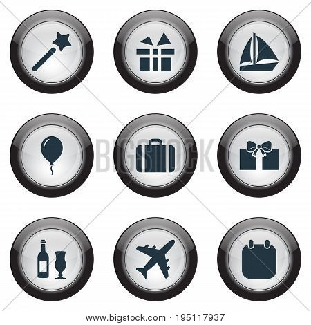 Vector Illustration Set Of Simple Festal Icons. Elements Handbag, Calendar, Balloon Synonyms Date, Balloon And Joy.