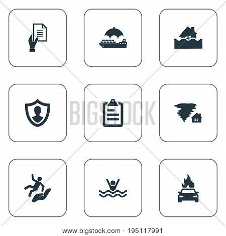 Vector Illustration Set Of Simple Safeguard Icons. Elements Protect Yourself, Questionaire, Protect From Torrent And Other Synonyms Fire, Contract And Umbrella.
